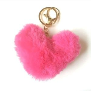 Accessories - Heart Pom Pom Bag Charm Car Keychain Hot Pink